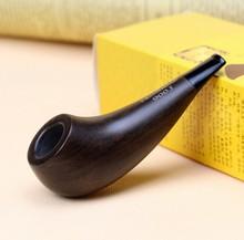Cadeau Ensemble Pipe 3mm Filtre Ébène Tabac à Pipe En Bois 9.8 cm Mini Pipe En Bois Pipe Fumée Fumer HW-900J