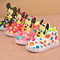 Children casual Fashion Kids Boys Girls Shoes Sport Running LED Lighted Shoes Mickey Dot  Baby  Shoes 21-30 for 1-6year