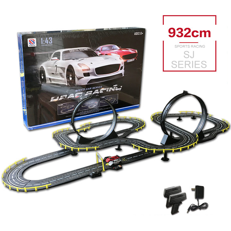 RC Track Car Toy Electric Wired Remote Control High Speed Double Car Track Racing Interactive Toys