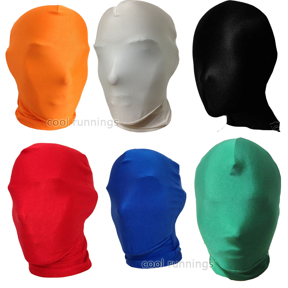 Spandex Zentai Costume Halloween Party Mask Hood Faceless No Face Full Head Hood