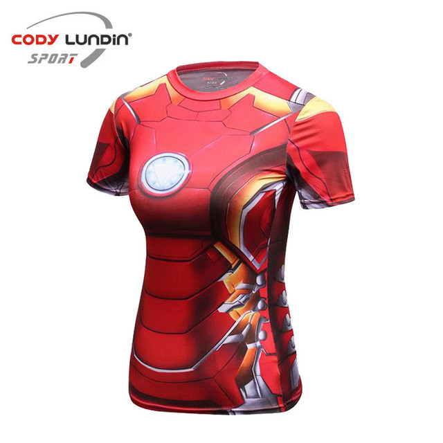 Compression Shirt Iron Man 3D Printed T-shirts Women Slim Short Sleeve  Captain America Cosplay