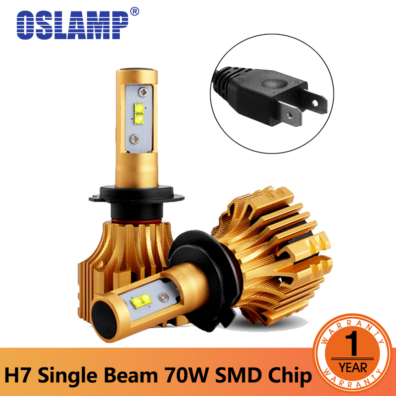Oslamp S6 серии светодиодный фар H7 потока SMD чипов один луч 70 Вт автомобиля светодиодный лампы 7000LM 6500 К 12 В 24 В светодиодный авто фары