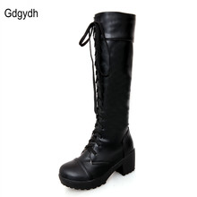 Large Size 34-43 Lace Up Thigh High Boots For Women Autumn and Winter Knee High Boots Black and White Fashion Shoes Hot Sale