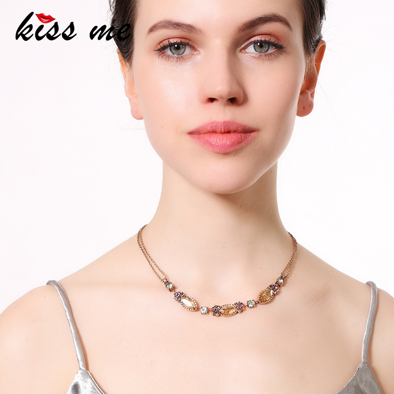 KISS ME Double Layers Chain Champagne Crystal Short Necklace