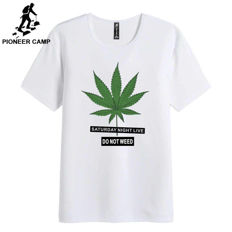 Pioneer Camp 2019 Новинка 100% хлопок суббота ночь живые листья узор Повседневная мужская футболка с круглым вырезом Стандартный размер DES901100