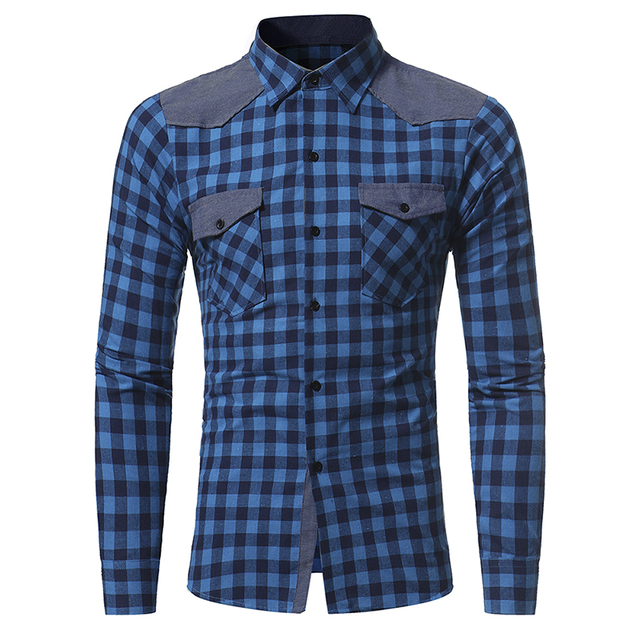 Brand 2017 Fashion Male Shirt Long-Sleeves Tops Classic Plaid Shirt Mens Dress Shirts Slim Men Shirt XXXL