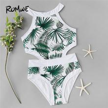 caa3aeac012f4 Romwe Sport Leaf Plants Print Cut-out One Piece Swimsuit Women High Neck  2019 Summer