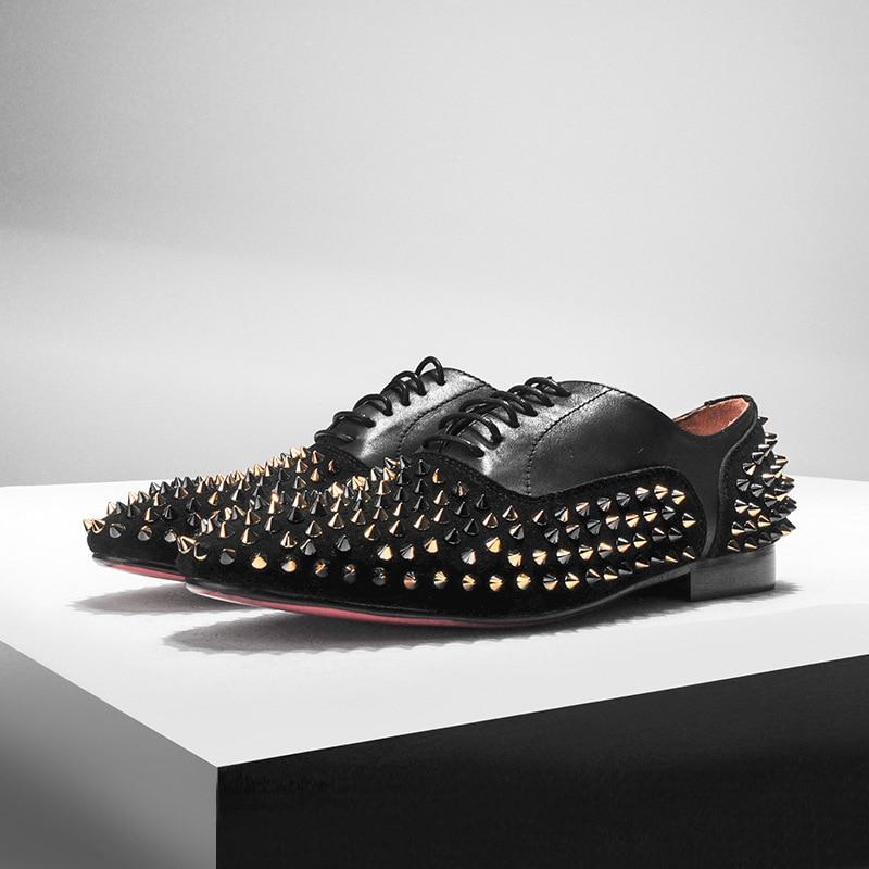 De Hommes Respirant Rétro Britannique Mode Automne Vache Chaussures Rivets Noir D'été Loisirs Sneaker Casual Tout allumette Printemps t7xwXHIt