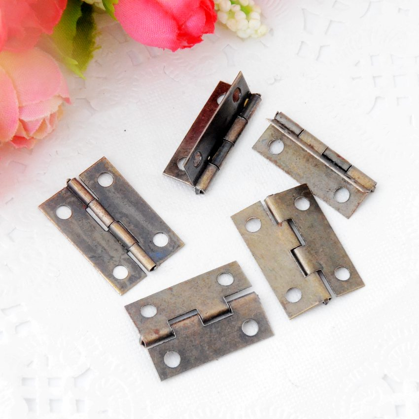Free Shipping 30pcs Antique Bronze Hardware 4 Holes DIY Box Butt Door Hinges (Not Including Screws) 24x16mm J3022