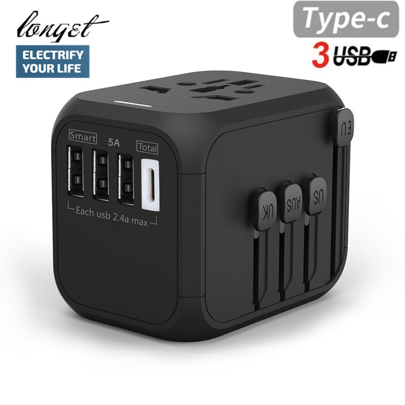 LONGET Universal Travel Adapter Auto Resetting Fuse baby safe design 5A 3 USB + 1typc c Worldwide Wall Charger for UK/EU/AU/Asia safe c
