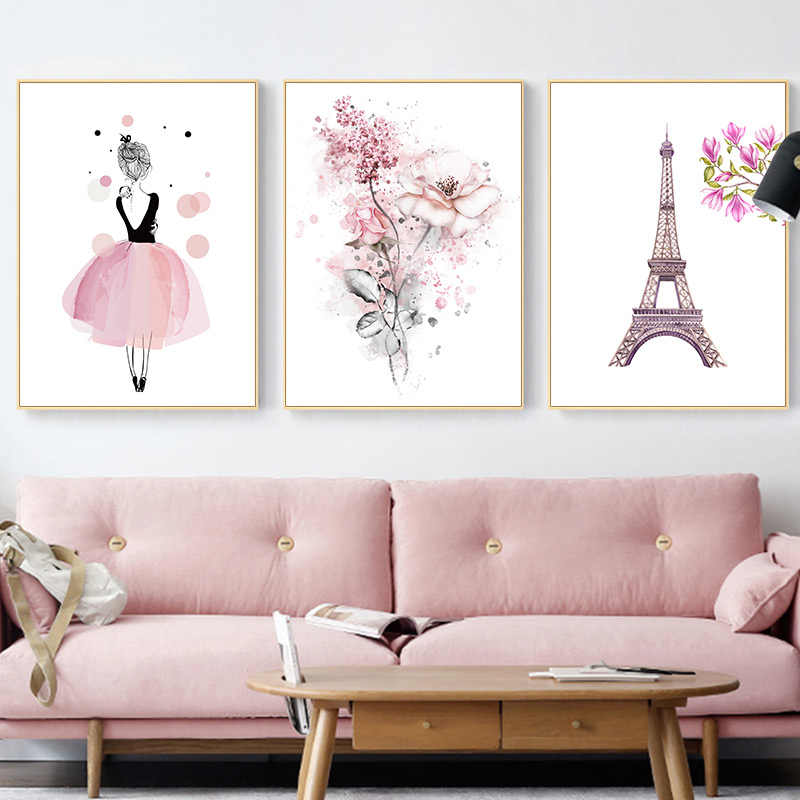 Dancing Girl Flower Art Nordic Pink Fashion Poster Print Paris Tower  Canvas Painting Wall Picture for Living Room Decoration