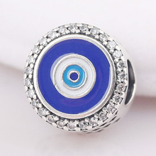 116a705cd New 925 Sterling Silver Bead Charm Blue Enamel Evil Eye Watchful Eye With  Crystal Bead Fit
