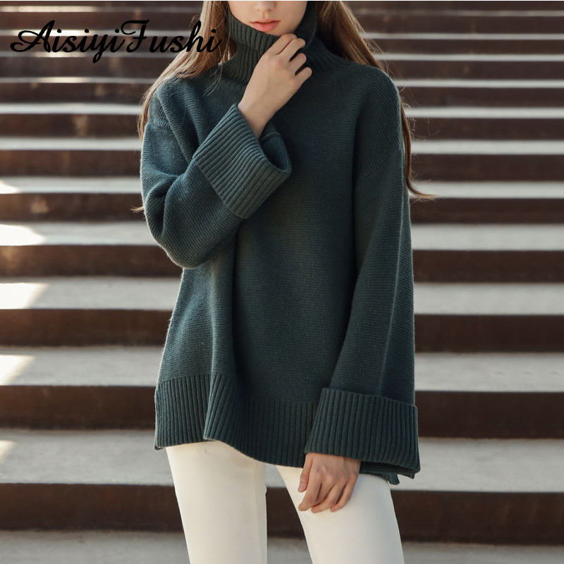 Women's Turtleneck Sweater For Women Harajuku Knitted Oversized Sweaters Female Womens Winter Jumper Warm Vintage Baggy Sweater