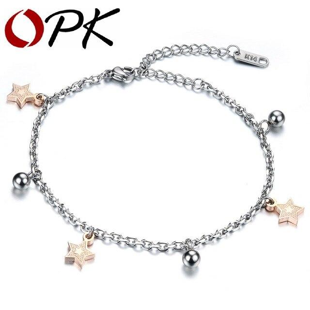 OPK Star Bells Pendant Woman Bracelets Romantic Rose Gold Color