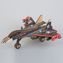 3D Wooden Puzzle Jigsaw Military Warplane Fighter Su-30 DIY Assembly Kids Educational Decoration Toys For Children Boy