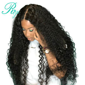 a01b00368 Riya Deep Curly Lace Front Human Hair Wigs For Black Women Pre Plucked 13X4  Brazilian
