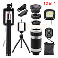Phone Camera Lens 12in1 Kits Fish eye Fisheye Wide Angle Macro Lens 8x Zoom Telephoto Lenses Tripod Clips Selfie Flash Light