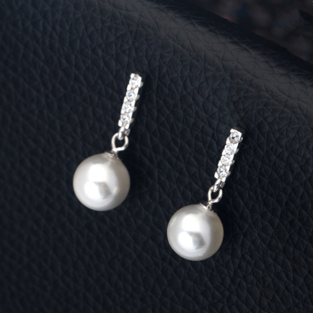 Cute 925 Sterling Silver 8mm Pearl Drop Earrings Accent Eropean Imported Rhinestone White