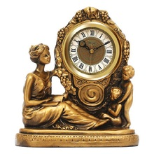 christmas decorations for home European style goddess craft clock creative mute living room desk archaize