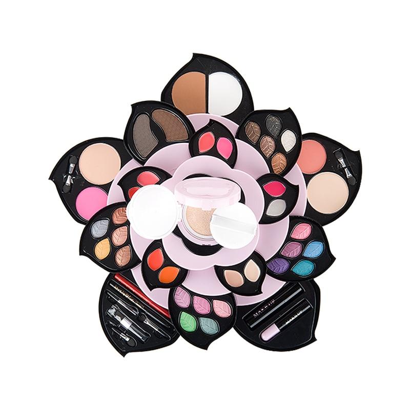 a set of cosmetics makeup of petal rotating big plum box set combination full professional makeup lipstick Eyeshadow Palette kit