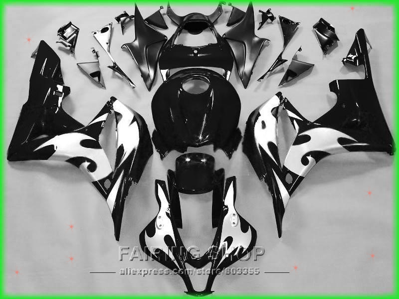 Motorcycle plastic part For Honda fairing kit cbr 600rr 07 08 CBR600RR 2007 - 2008 ( Black silver flame ) Fairings LL97 abs injection fairings kit for honda 600 rr f5 fairing set 07 08 cbr600rr cbr 600rr 2007 2008 castrol motorcycle bodywork part