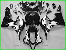 Peça de plástico da motocicleta para honda kit carenagem cbr 600rr 07 08 cbr600rr 2007 - 2008 (chama de prata preta) carenagens ll97