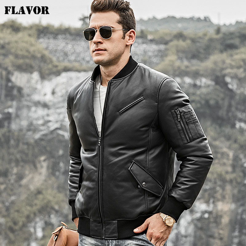 FLavor Men's Real Leather Down Jacket Men Genuine Lambskin Leather Baseball Jacket Warm White Duck Down Coat