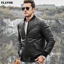 FLavor Mens Real Leather Down Jacket Men Genuine Lambskin Leather Baseball Jacket Warm White Duck Down Coat