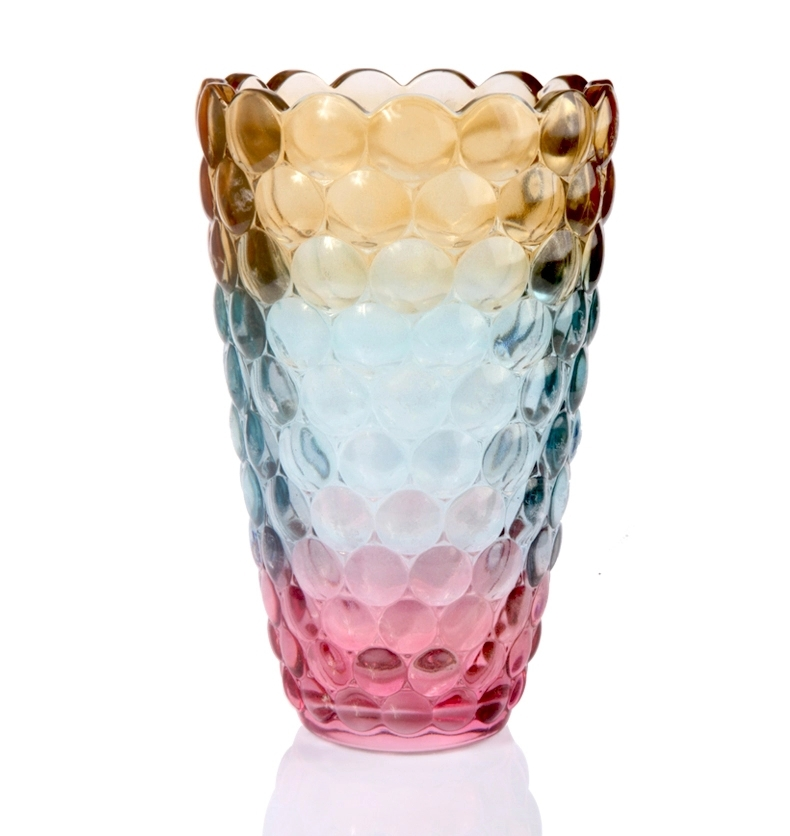 Cylindrical Crystal Glass Flower Vase Decorative Coloured Glaze Pitcher Stoneware Handicraft