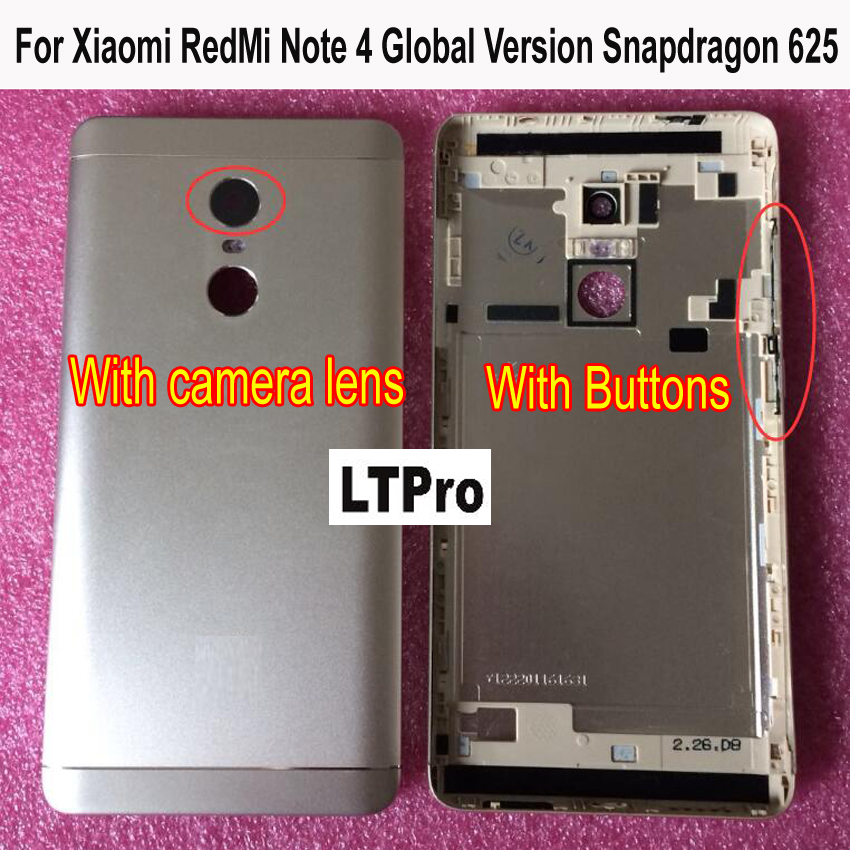 LTPro For Xiaomi Redmi Note 4 Global Version Snapdragon 625 or MTK Helio X20 Version Metal Back Battery Housing Cover parts