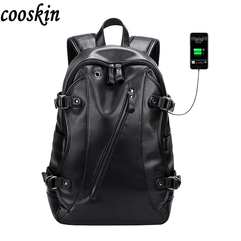 2017 Waterproof Leather Backpack External USB Charge Computer Bag black Men Fashion Notebook Backpacks