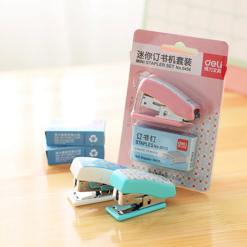 Mini Stapler Set 24/6 Staples Office School Supplies Stationery Paper Stapler Bookbinding Binder