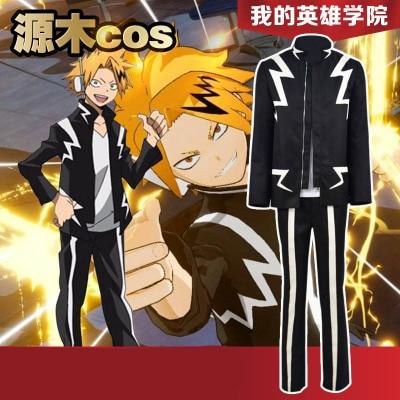 Hot Japanese Anime My Hero Academia Kaminari Denki School Uniform Man Woman Cosplay Costume Top + Pants + Short