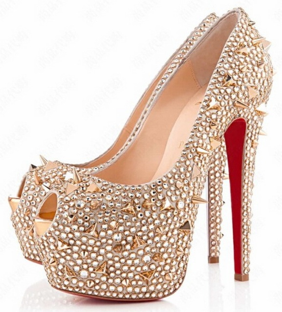 00126f48ab1 160mm gold studded shoe spikes peep toe crystal heels red bottom platform  Daffodile designer pumps