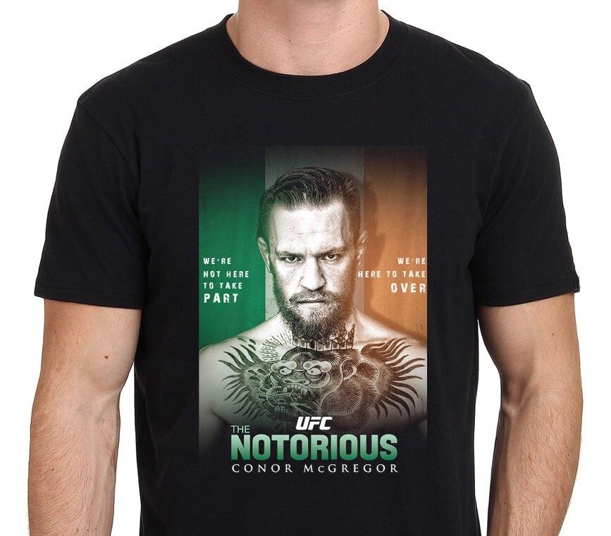 Connor McGregor Notorious Mens Black T-Shirt Size:S-M-L-XL-3xl Summer 2018 Short Sleeve Plus Size Cartoon Character T Shirt