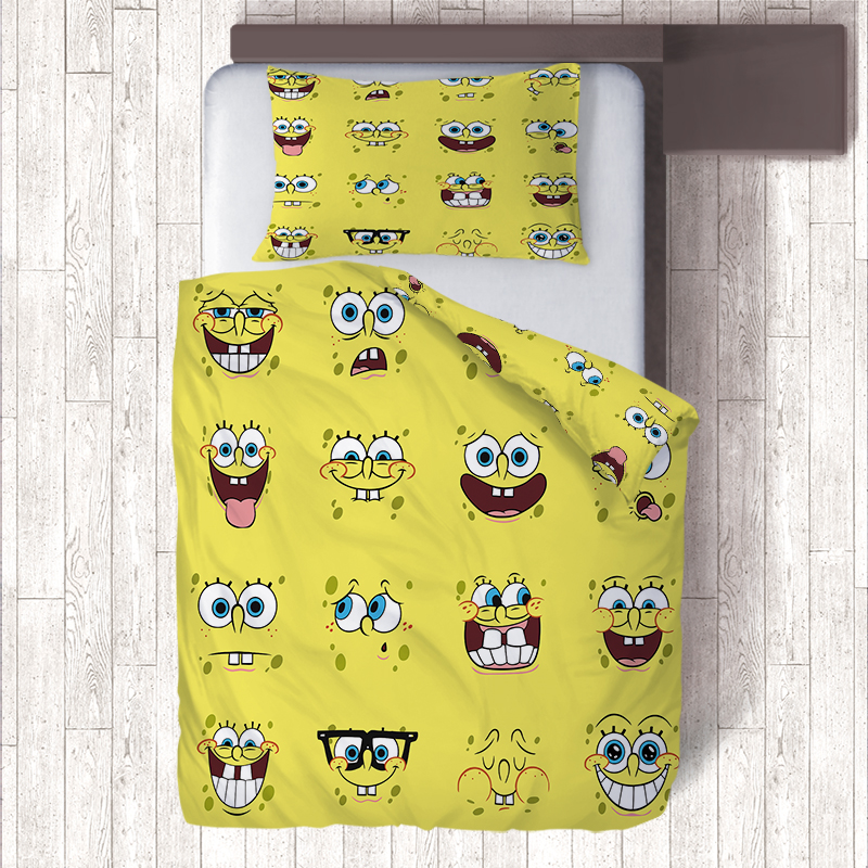 2 Sided Print Yellow Spongebob Emoji Bedding Sets,Single Quilt Cover Pillow Cases Bedclothes Kids Duvet Cover Set Children Bed