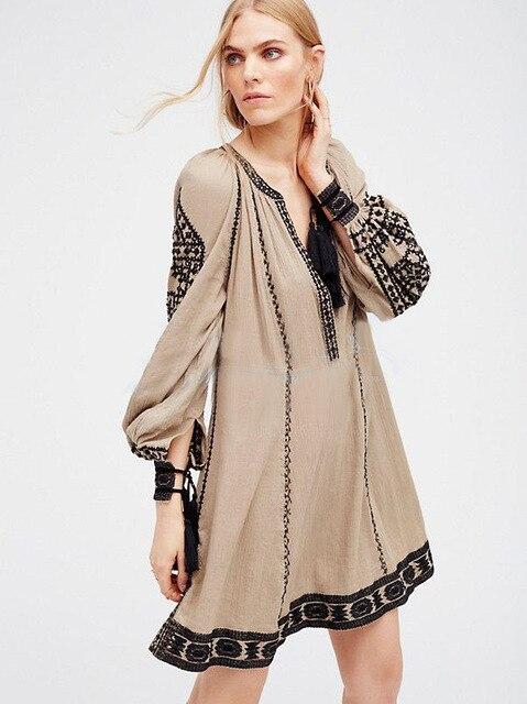 2018 new free shipping national retro style dress women boho dress ...