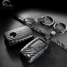 цена на Package Car key cover carbon fiber Silica gel case key holder shell key ring for volkswagen vw polo passat tiguan touareg jetta