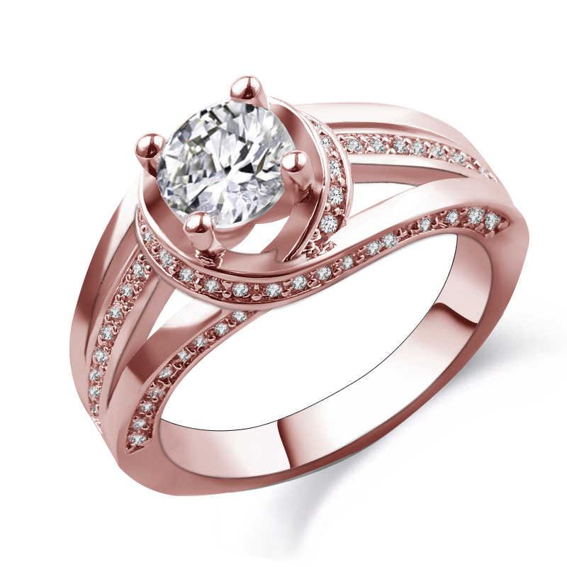 Charming แฟชั่นรอบการออกแบบผู้ชายผู้หญิงแหวนสีม่วง Rose Gold Filled สีเหลือง/สีขาวเครื่องประดับงานแต่งงานแหวนของขวัญ bague