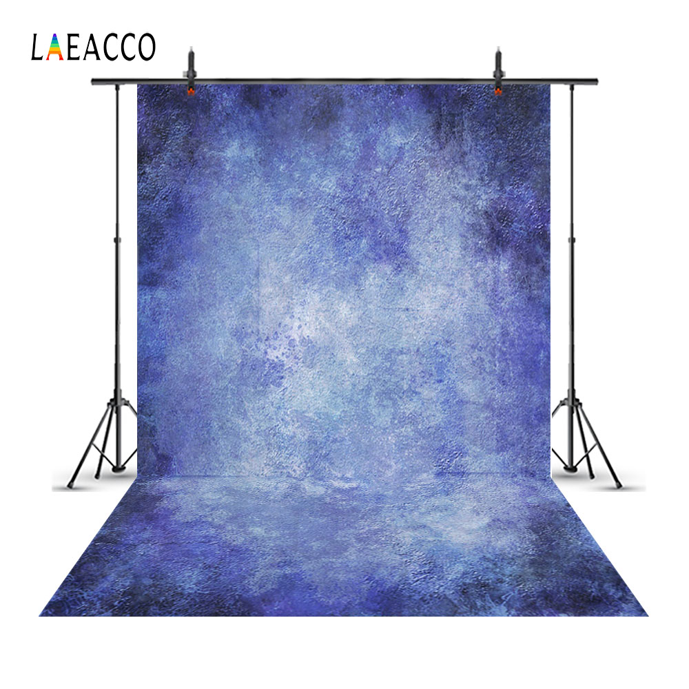 Laeacco Gradient Solid Blue Color Portrait Photography Backgrounds Vinyl Customizable Photo Backdrops For Studio Props