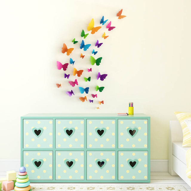 30pcs 3D Butterfly Wall Stickers Home DIY Decor Wall Decals For Living  Room, Bedroom,