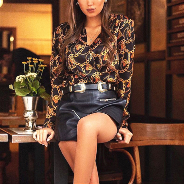 Fashion Women Password Chain Printed Vintage Blouse Shirts For Women Vogue High Street Cross Sexy V Neck Blouses Tops Lady Shirt 2