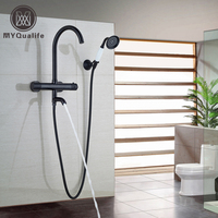 Wall Mounted Dual Function Swivel Tub Filler Handheld Shower Faucet Set Oil Rubbed Bronze Thermostatic Bath