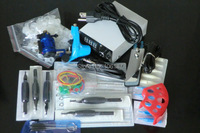 Professional Tattoo Kit 2 Pro Rotary Tattoo Machine Gun Power Supply Needles Grip Tip Ink Cup