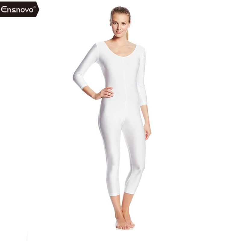 Ensnovo Women Full Body Ballet Unitard Lycra Nylon 3/4 Long Sleeve Custom Skin Tights Dance Wear Gymnastics Leotard
