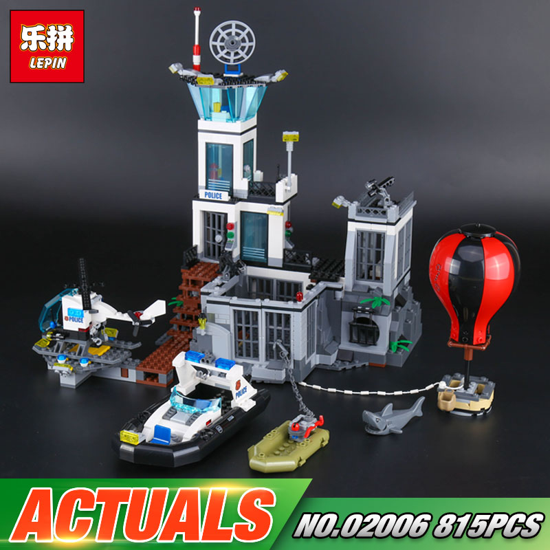 Lepin 02006 Genuine 815Pcs City Series The Prison Island Set 60130 Building Blocks Bricks Educational Funny Toys For Kid`s Gifts lepin 02006 815pcs city series police sea prison island model building blocks bricks toys for children gift 60130