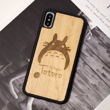 My neighbor totoro real wood mobile phone case for Iphone 6 s 7 8 plus X S retro business phone shell(China)
