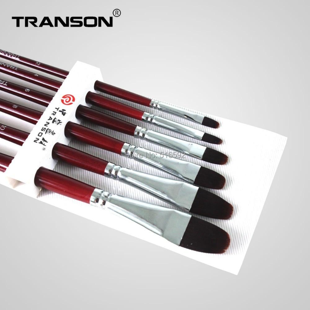 Transon208 6pcs/set  filbert head red nylon hair artist brush , red handle painting brush, paint brush watercolor art supplier куплю подшипник 6 208 б1