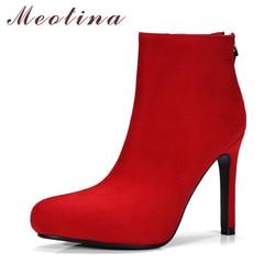 Meotina ankle boots women platform high heel boots pointed toe zip women boots autumn big size.jpg 250x250