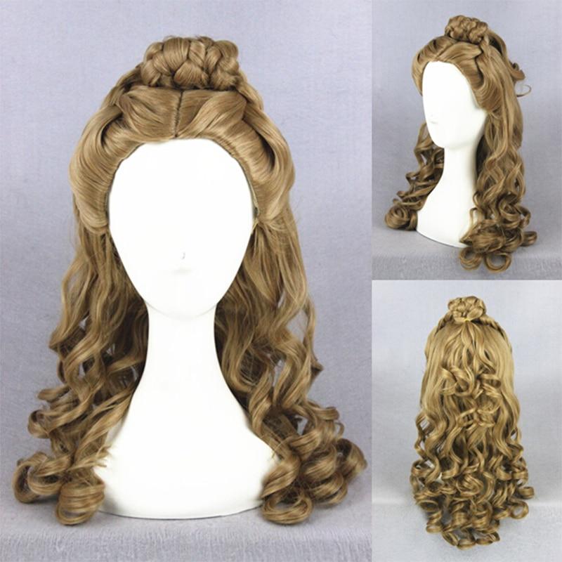 Princess Cinderella Wig Medium Long Curly Anime Hair Brown ...